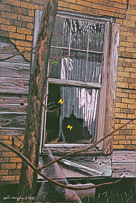 Peter Muzyka Wall Art - Painting - Fluttering At The Window by Peter Muzyka