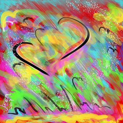 Digital Art - Fluttering Hearts by Jason Nicholas