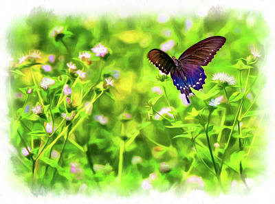 Blue Swallowtail Photograph - Fluttering Swallowtail - Paint by Steve Harrington