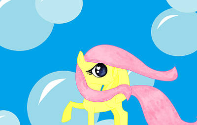 My Little Pony Drawing - Fluttershy And Bubbles by Dawn Darkness