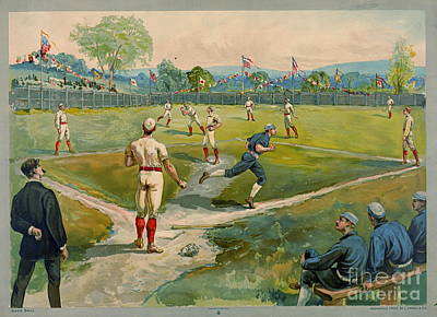 Art Lithographs Photograph - Fly Ball 1887 by Padre Art