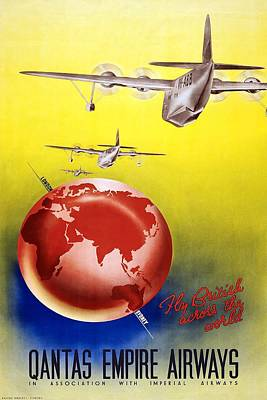 Royalty-Free and Rights-Managed Images - Fly British Across The World - Qantas Empire Airways - Retro travel Poster - Vintage Poster by Studio Grafiikka