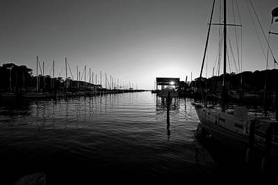 Photograph - Fly Creek Marina Fairhope Alabama Black And White by Judy Vincent