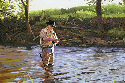 Trout Painting - Fly Fisherman by Kenneth Young