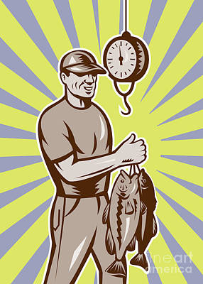 Fly Fisherman Weighing In Fish Catch  Art Print by Aloysius Patrimonio
