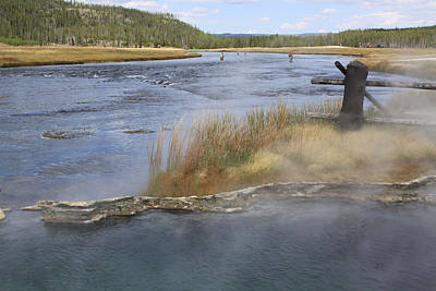 Fly Fishing And Geyser  Art Print by Gayle Johnson