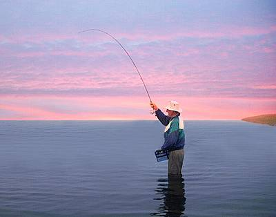 Photograph - Tight Line At Sunset by Joe Duket