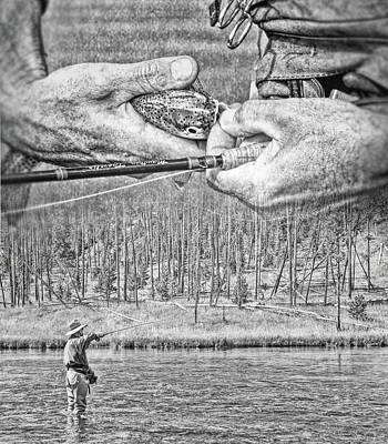 Photograph - Fly Fishing Dream Monochrome by Jennie Marie Schell