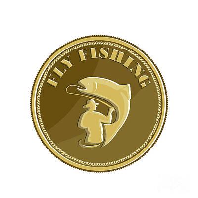 Fly Fishing Gold Coin Retro Art Print