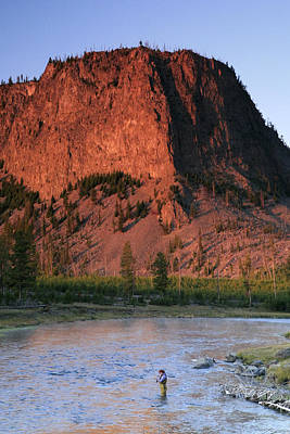 Fly Fishing On The Madison River Print by Drew Rush