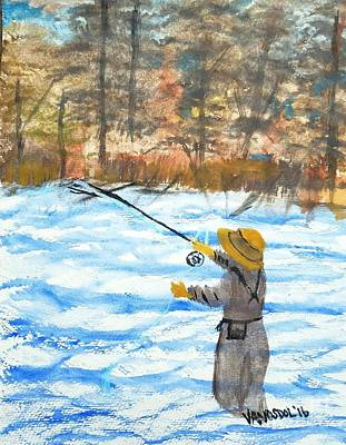 Fly Fishing River Scene Original by Scott D Van Osdol