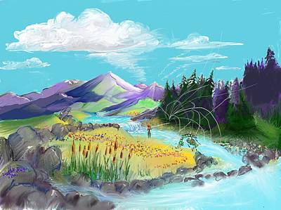 Digital Art - Fly Fishing With Aa Wooly Worm. by Joseph Mora