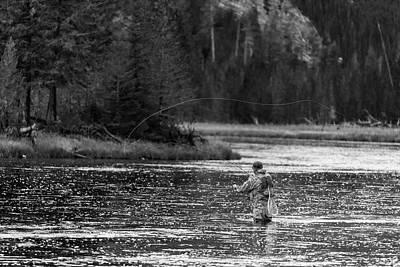 Fly Fishing Yellowstone Wy B W Art Print by Steve Gadomski