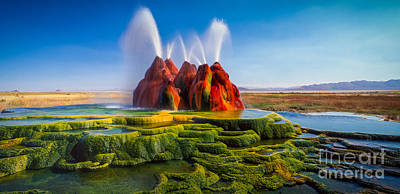 Fly Geyser Panorama Art Print by Inge Johnsson