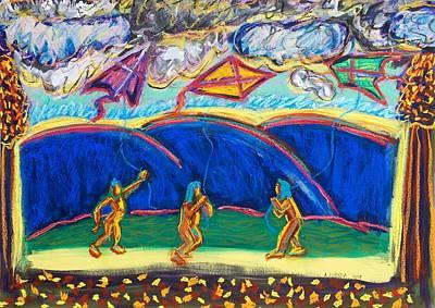 Children Flying Kite Painting - Fly High by Albert  Almondia