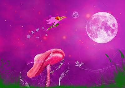 Faries Digital Art - Fly Me To The Moon And Let Me ..... by Mary Morawska