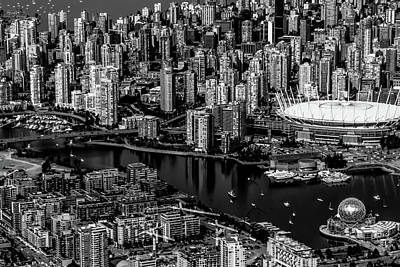 Photograph - Fly Over Vancouver Bandw by Michael Hope