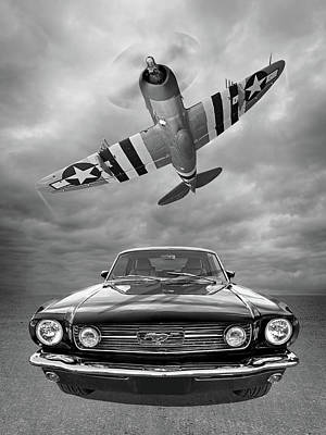 Photograph - Fly Past - 1966 Mustang With P47 Thunderbolt In Black And White by Gill Billington