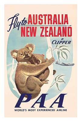 Fly To Australia, New Zealand By Clipper Koala Bears Art Print