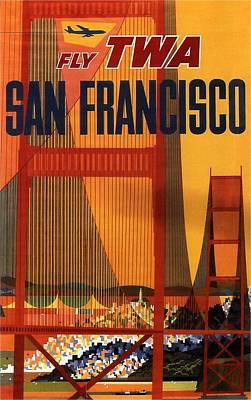 Airplane Mixed Media - Fly Twa San Francisco - Trans World Airlines - Retro Travel Poster - Vintage Poster by Studio Grafiikka
