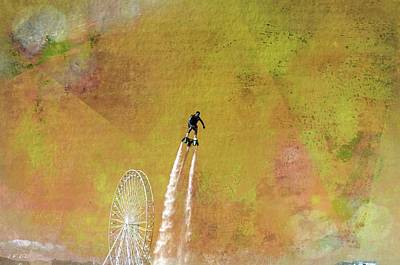 Flyboard, Sketchy And Painterly Art Print