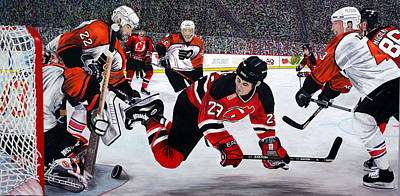 New Jersey Devils Wall Art - Painting - Flyers/devils by Mark Richardson