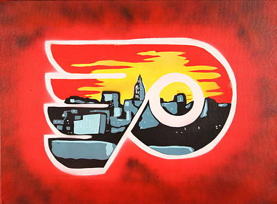 Hockey Painting - Flyers by Tom Evans