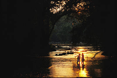 Natural Forces Photograph - Flyfishing At Dusk by Skip Brown