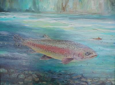 Lynn Burton Painting - Flyfishing by Lynn Burton