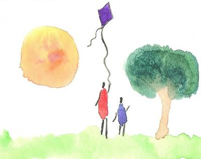 Children Flying Kite Painting - Flying A Kite In The Park by Shelley A Sonnenberg