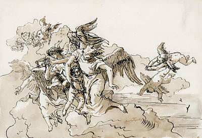 Drawing - Flying Angels And Putti by Giovanni Domenico Tiepolo
