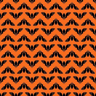 Digital Art - Flying Bats Pattern Black by MM Anderson