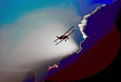 Flying Painting - Flying Between Clouds 5 by Celestial Images
