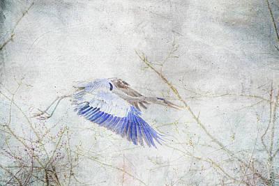 Heron Mixed Media - Flying Blue Heron by Lowell Monke