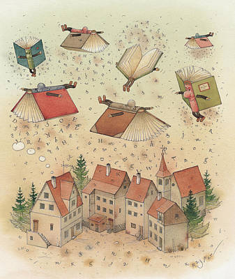 Flying Books Art Print by Kestutis Kasparavicius