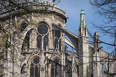 Flying Buttresses Notre Dame Paris Painterly Art Print by Joan Carroll
