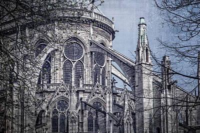 Notre Dame Photograph - Flying Buttresses Notre Dame Paris Textured by Joan Carroll