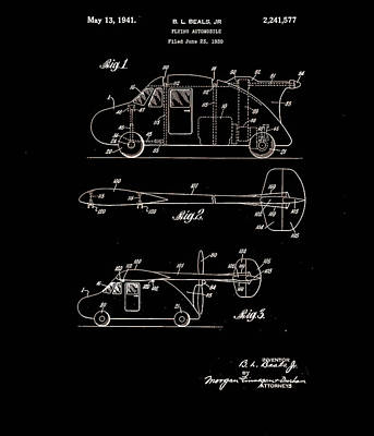 Design Photograph - Flying Car Patent 1941 by Claire  Doherty