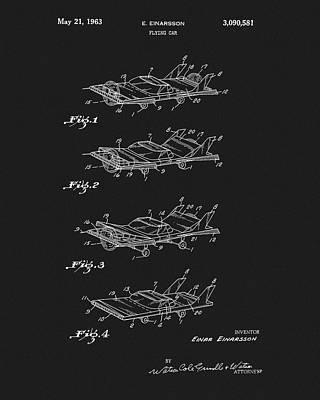 Batmobile Mixed Media - Flying Car Patent by Dan Sproul