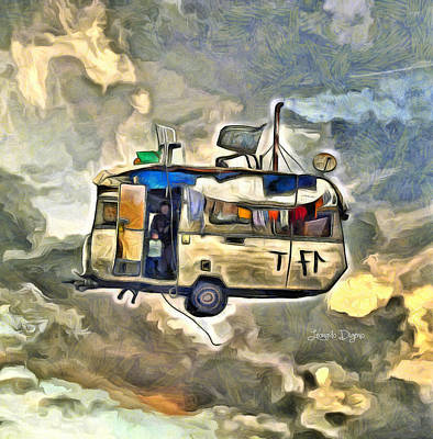 White Digital Art - Flying Caravan - Da by Leonardo Digenio