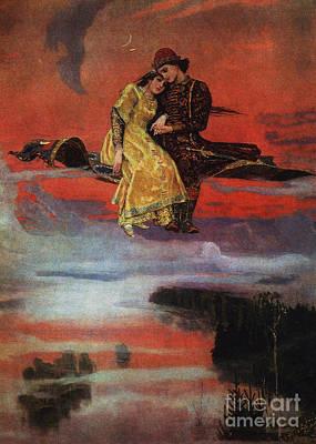 Fool Painting - Flying Carpet by Victor Mikhailovich Vasnetsov