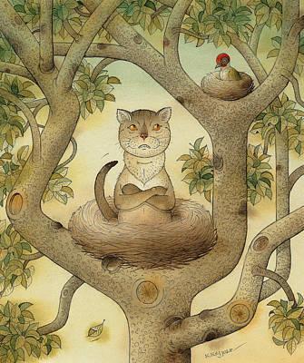 Painting - Flying Cat by Kestutis Kasparavicius
