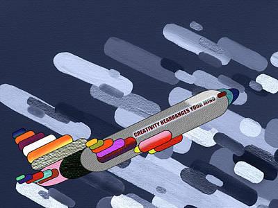 Soaring Mixed Media - Flying Colors - Airplane Pop Art by Rayanda Arts