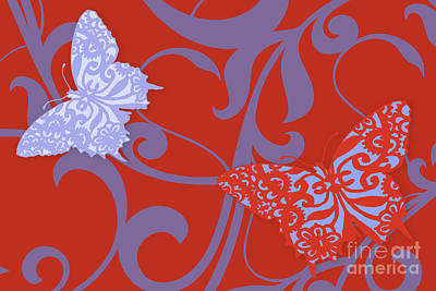 Reserve Painting - Flying Colors Lace Butterflies by Mindy Sommers