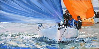 Sailboat Ocean Painting - Flying Colors by Laura Lee Zanghetti