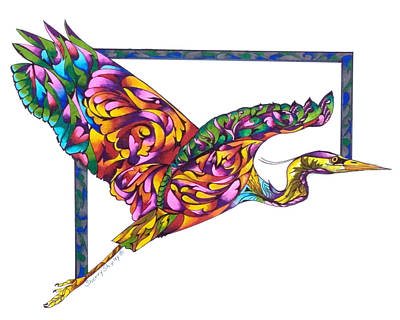 Zen Tangle Drawing - Flying Colors by Sherry Shipley