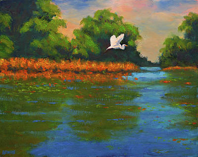 Langan Lake Heron II Art Print