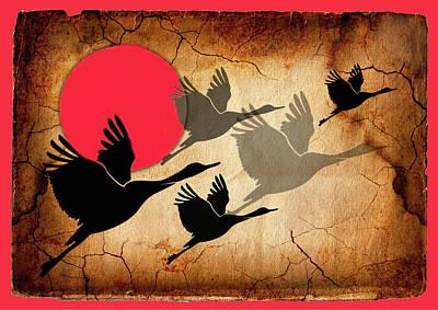 Digital Art - Flying Cranes by Rumiana Nikolova
