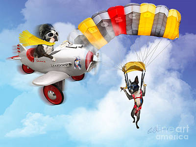Flying Dogs Art Print by Eric Chegwin