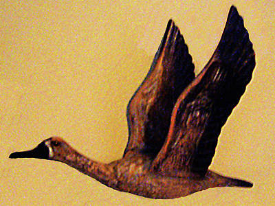Sculpture - Flying Duck Wood Carving No. 1 by Merton Allen